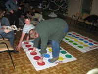 Lee playing Twister