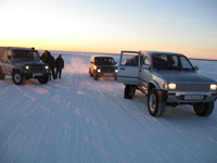 Our three vehicals heading to the tundra