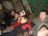 Children at the first teepee
